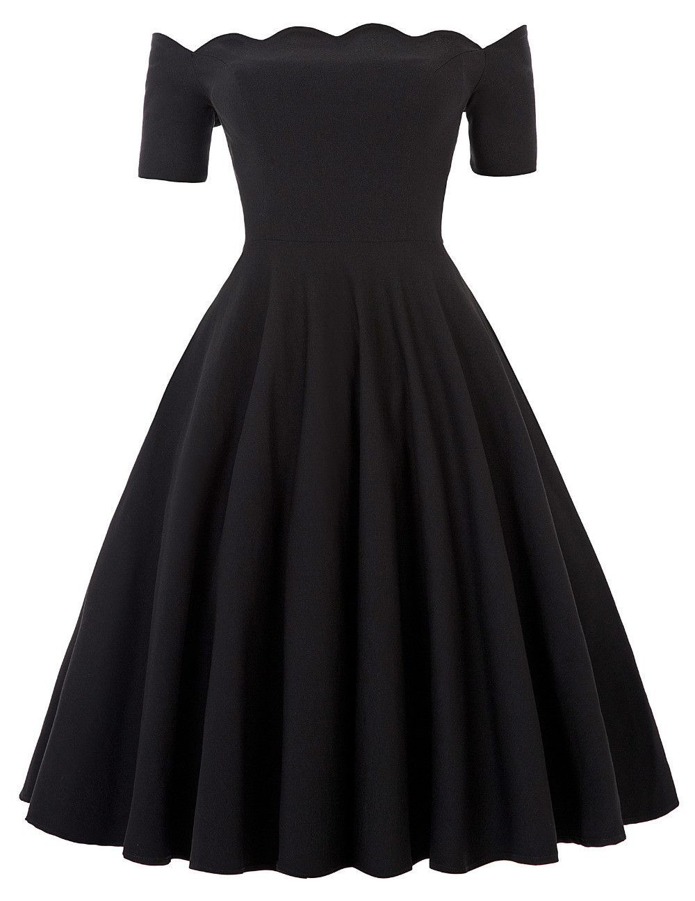 Off Shoulder Dress Audrey Hepburn Vestidos Vintage 50s 60s Rockabilly  Casual Robe Pin Up Swing Black Party Dresses With Sleeves 4bef6a0c7234