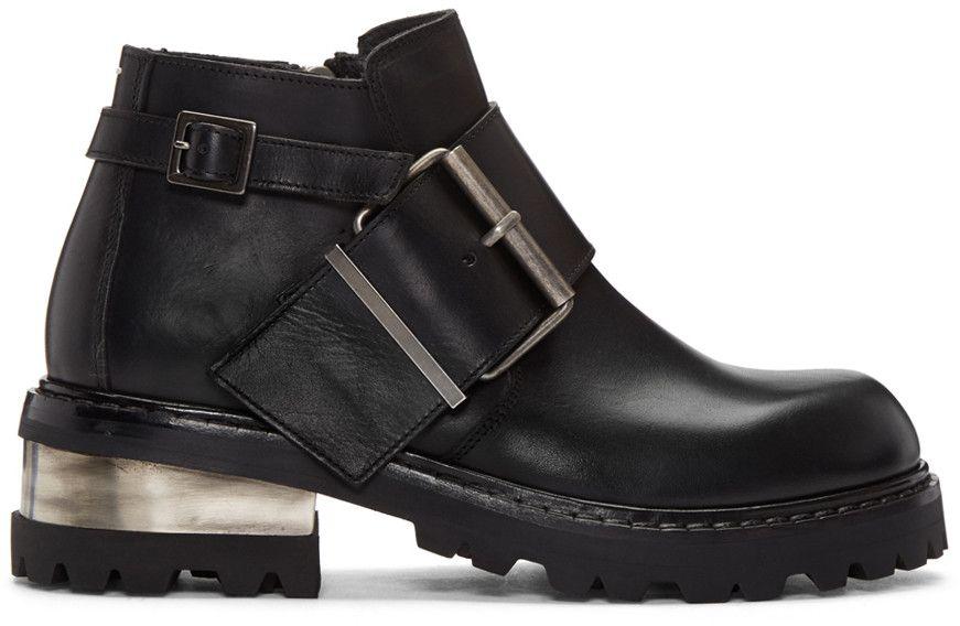 MAISON MARGIELA Black Big Buckle Boots. #maisonmargiela