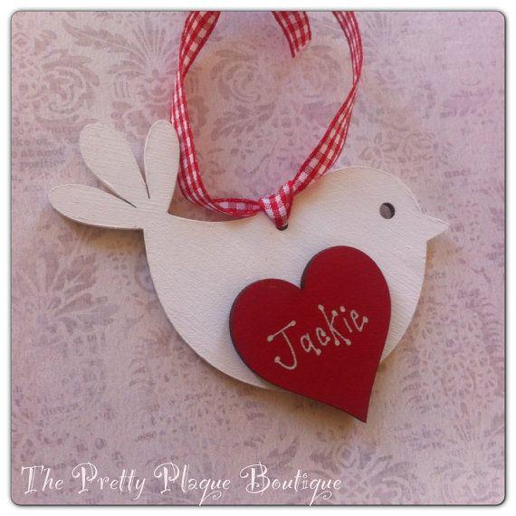 Personalised Valentines Day Love Bird White Shabby Chic Wooden
