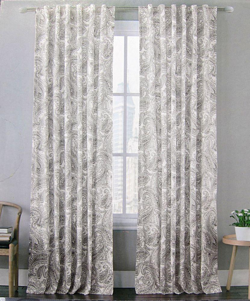 Vintage curtains lace white panels drapes window coverings floral - Envogue Gray Vintage Paisley Window Curtain Panels Set Of 2 Drapes Pair 96 Grey