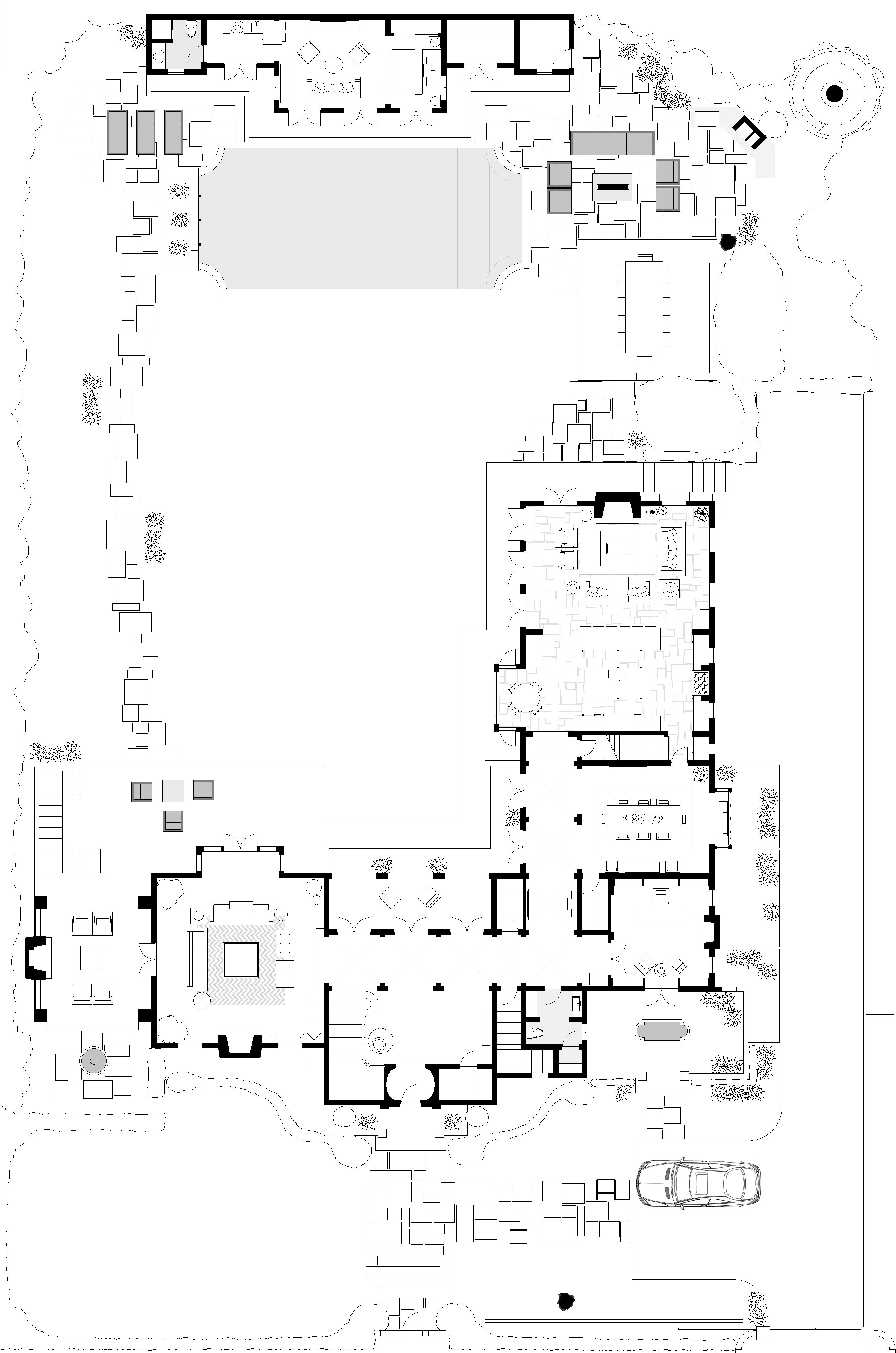 first floor plan living room entry hall library dining room kitchen family room terrace. Black Bedroom Furniture Sets. Home Design Ideas