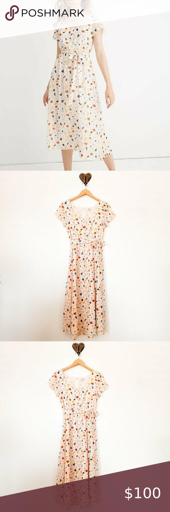 Madewell Tie Waist Midi Dress In Terrazzo Madewell Dresses Midi Dress Clothes Design [ 1740 x 580 Pixel ]