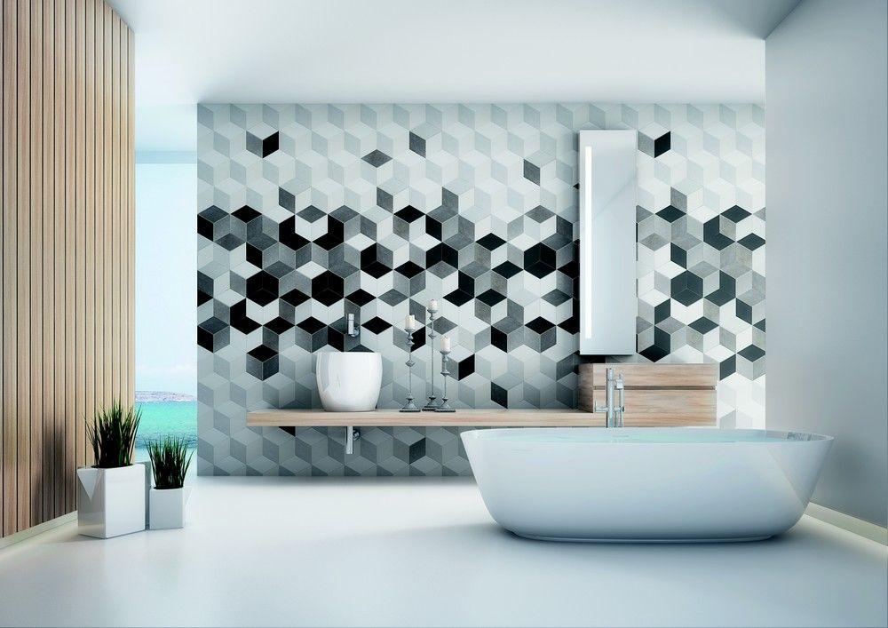 Salle de bain design à influences Vasaréliennes, pour des effets de - volume salle de bains