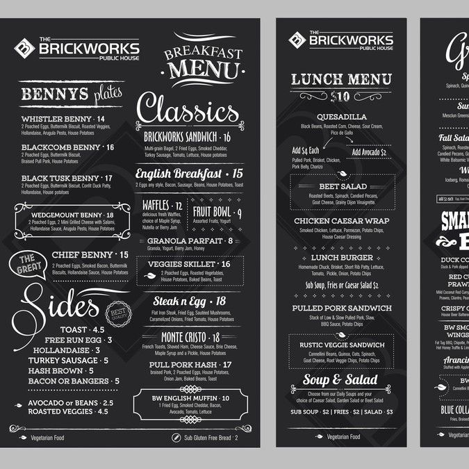 Create a gastro pub menu by istasik logo design for Irish menu templates