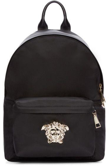 Designer Bags For Women Versace Black Silver Nylon Medusa Backpacl