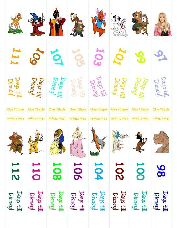 Disney Countdown paper chain - Free Printable Disney Disney
