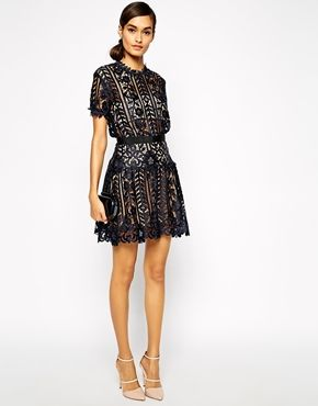 Enlarge Self Portrait Lace A Line Dress With Peplum Detail ...