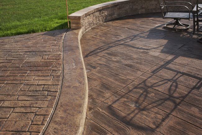 Pin By Kim Holder On Lake Home Ideas Wood Stamped Concrete Concrete Patio Cement Patio