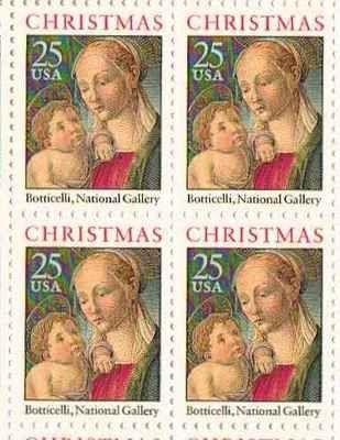 Boticelli Madonna & Child Set of 4 x 25 Cent US Postage Stamps NEW Scot 2399 . $7.95. Boticelli Madonna & Child Set of 4 x 25 Cent US Postage Stamps NEW Scot 2399