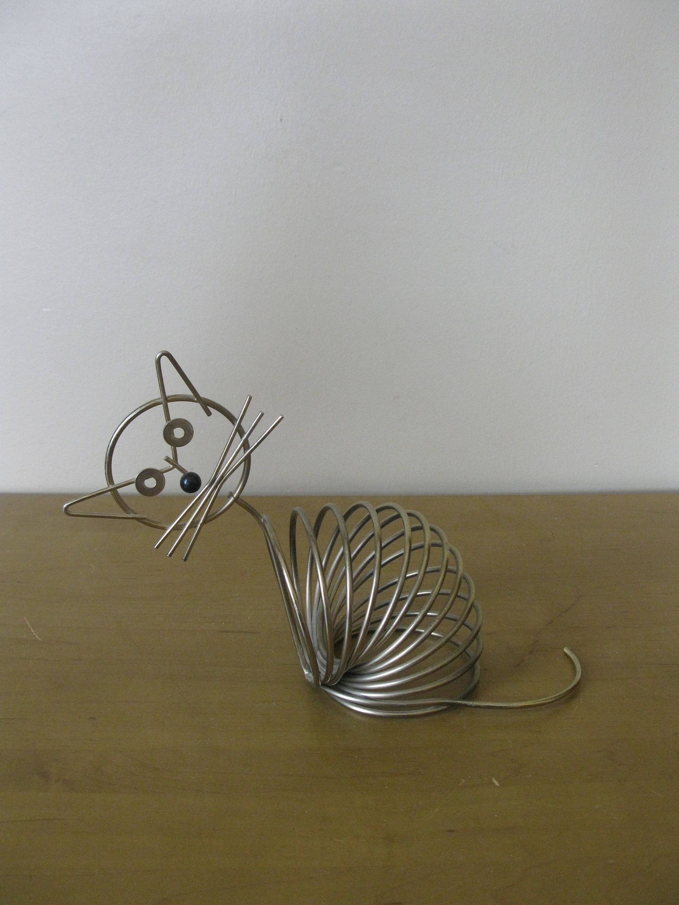 CAT Wire letter holder -coil letter holder- kitsch -postcard -recipe ...