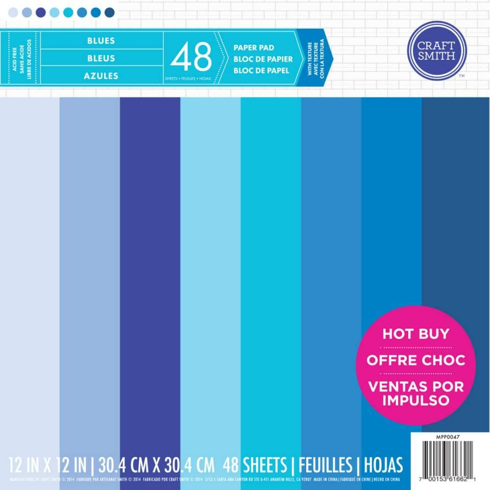 new from craft smith cardstock paper pad in shades of blue