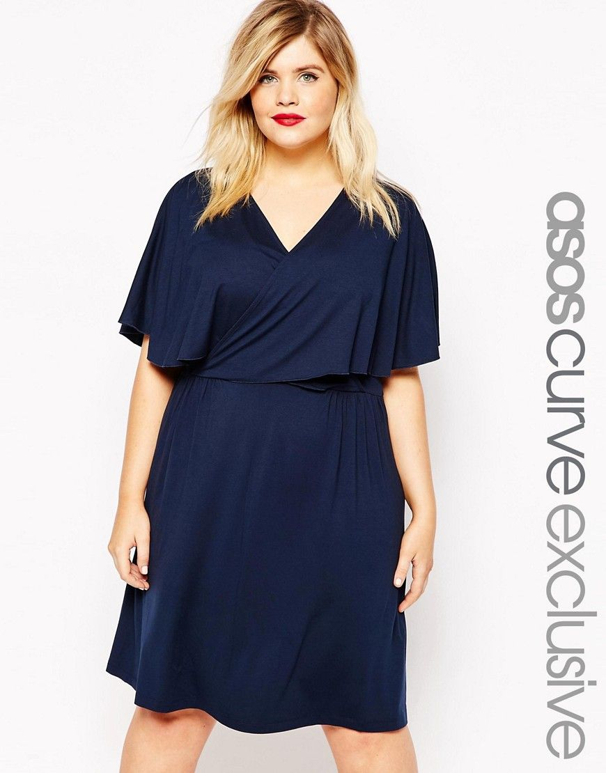 ASOS CURVE Mini Skater Dress with Wrap Cape | My Style ...