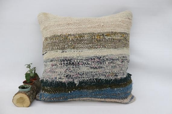 20x20 Rustic Pillow, Outdoor Kilim Pillow, Square Pillow Cover, Throw Pillow, Striped Pillow, Blue P