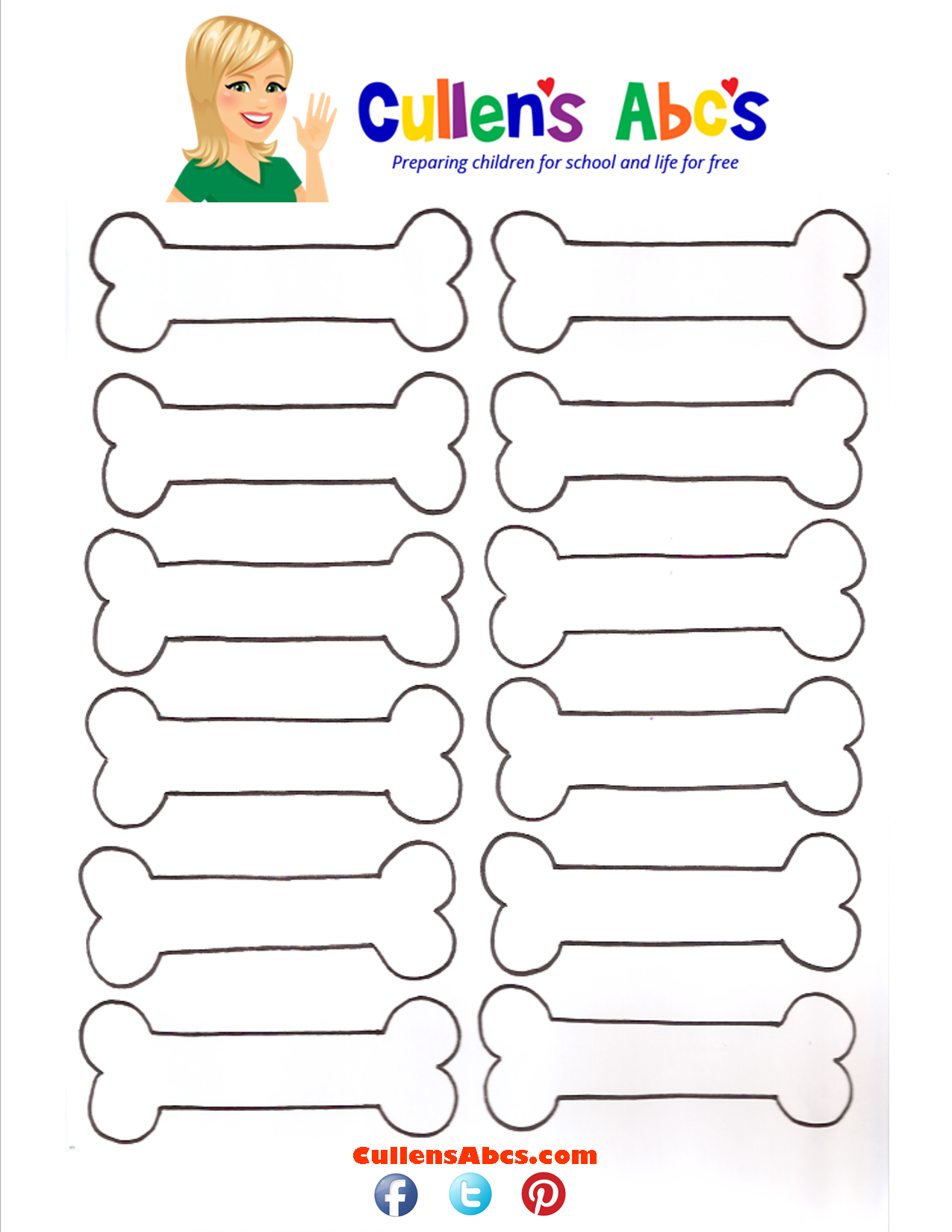 Dog Bone Pattern and game http://cullensabcs.com/patterns/dog-bone ...