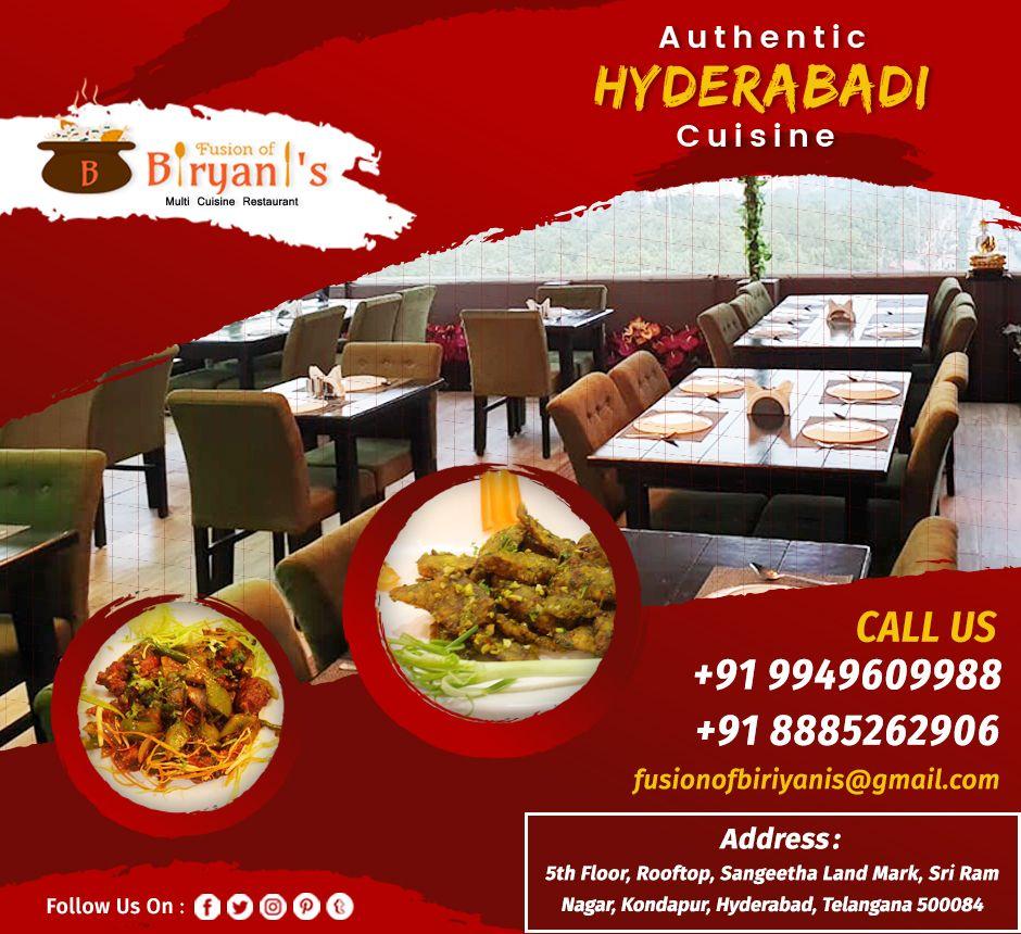 Fusion Of Biryanis Kondapur Hyderabad Hyderabadi Cuisine Resturant Food