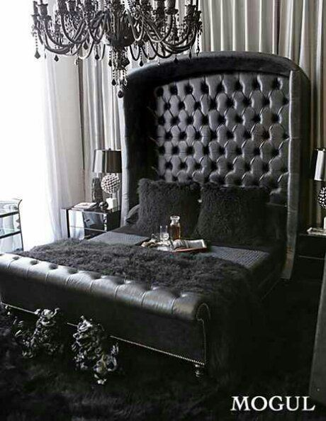 Omg We Re In Love All Black Everything Black Tufted Sleigh Bed With Cubby Headboard Black Crystal Chandelier And Black T Home Home Decor Gothic Bedroom