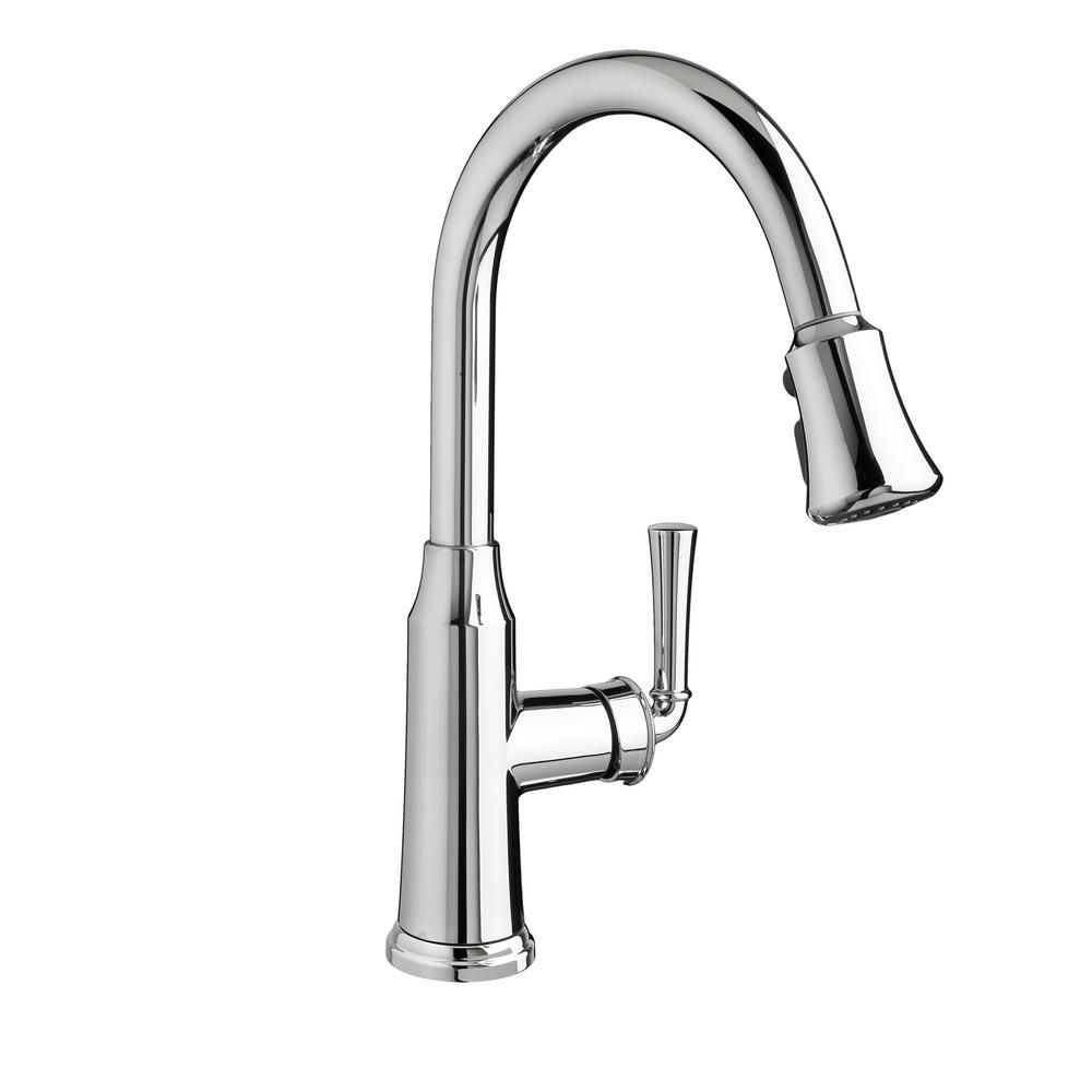 American Standard Portsmouth Single Handle Pull Down Sprayer Kitchen Faucet In Polished Chrome Faucet Polished Chrome Stainless Steel Apron Sink