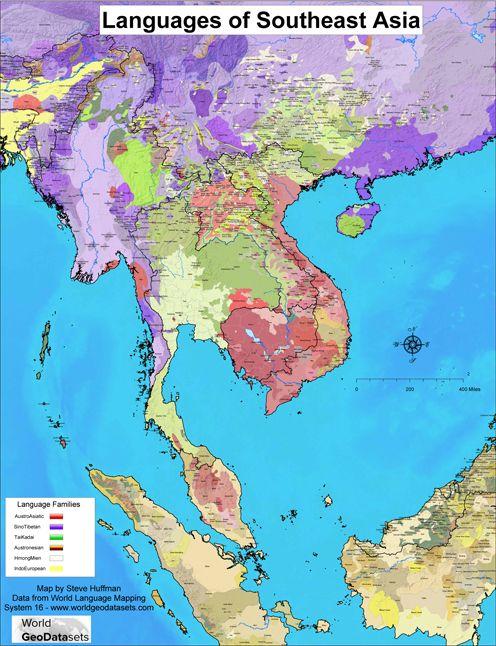 The Languages Of Southeast Asia EthnoLangAsia Pinterest - Asia language map