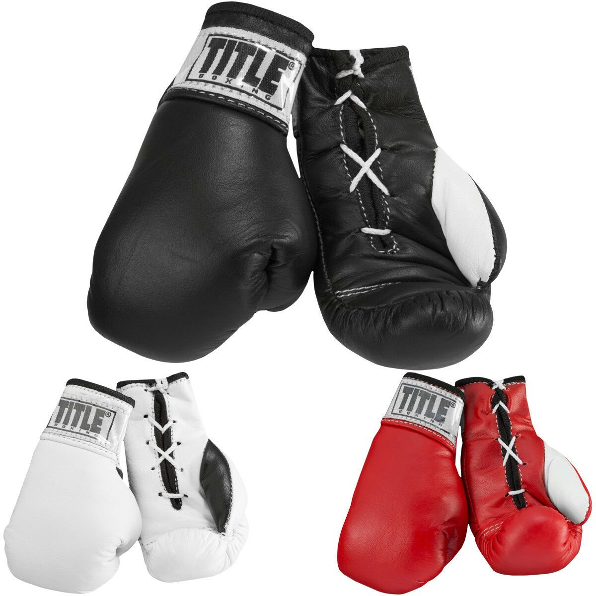 """Title Boxing 3.5/"""" Authentic Detailed Mini Pro Fight Lace Up Gloves"""