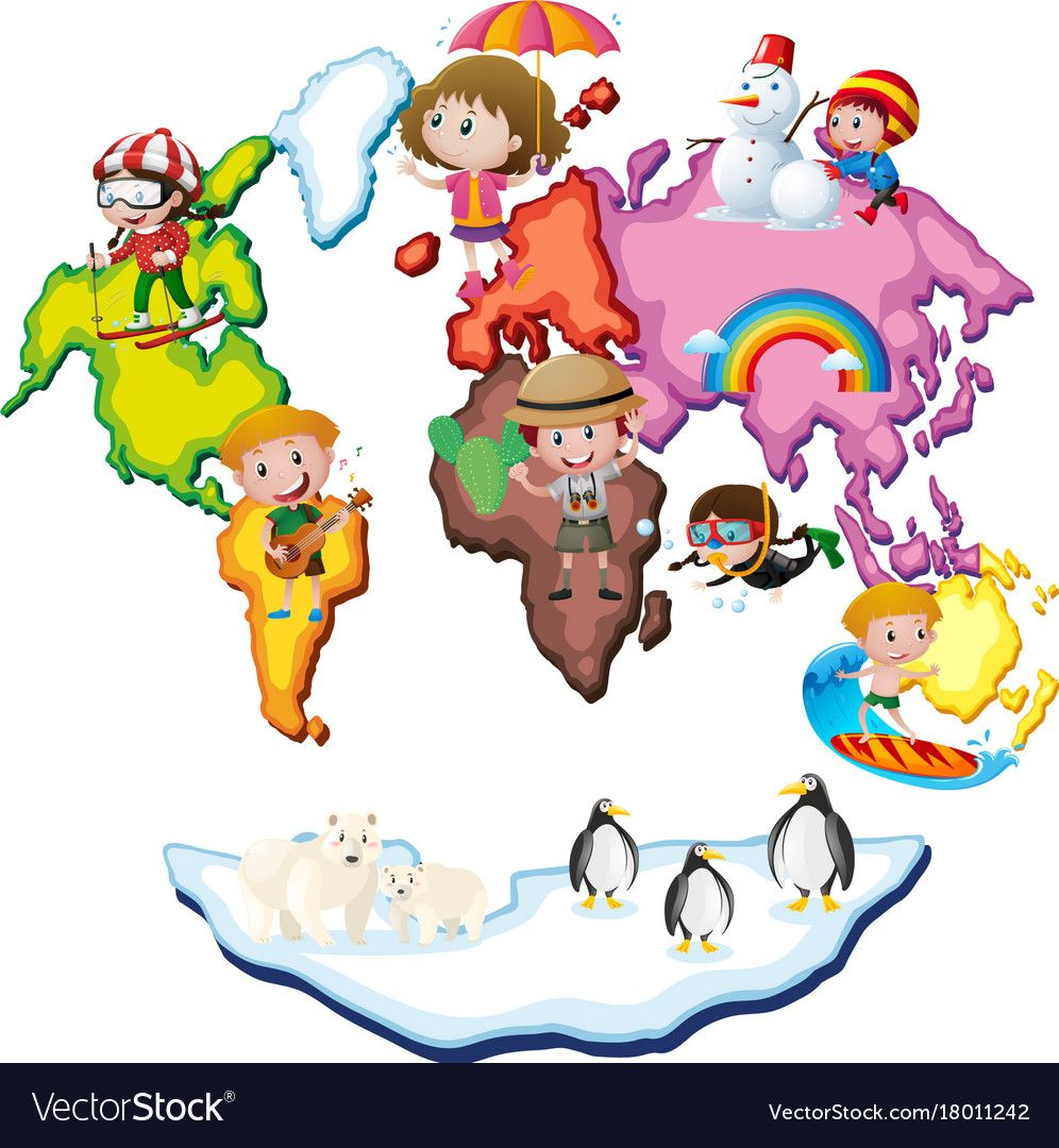 World Map With Kids And Animals Vector Image On Historias Da