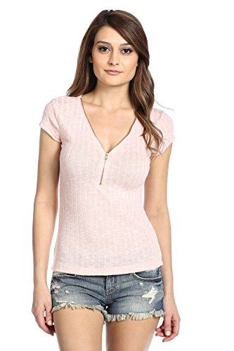 Zipper Ribbed Top Medium Blush * You can get additional details at the image link.