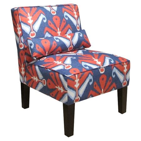 Ikat-print accent chair with matching pillow and solid pine frame. Handmade in the USA.    Product: Chair    Construc...