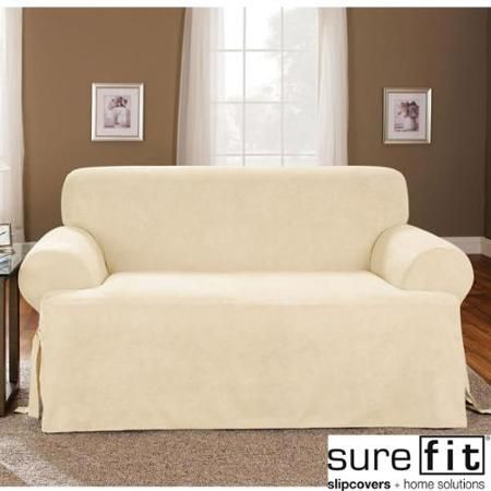 Sure Fit Soft Suede Cream T Cushion Sofa Slipcover Las Lomas
