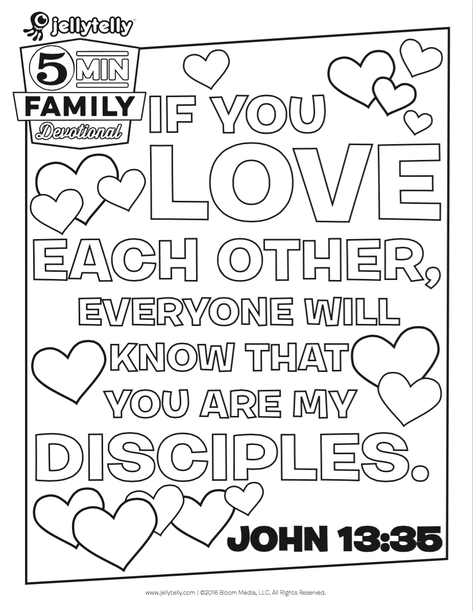 Teach Your Kids What It Means To Love Others With This Free John 1335 Coloring Page Plus Download An Adult Version