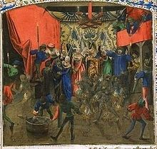 Tragedy at the Ball. Firey deaths, Charles 6 survives by hiding under a lady's skirt. From the Chroniques
