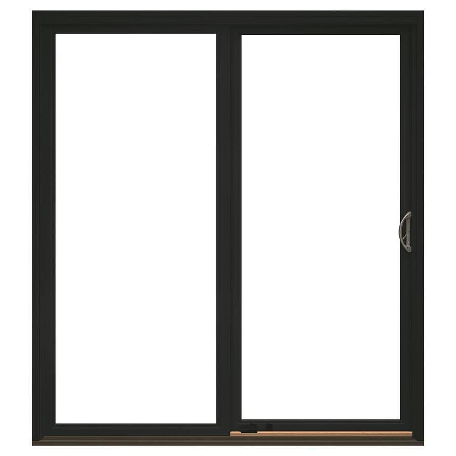 Pella Impervia Clear Glass Black Fiberglass Right Hand Double Door Sliding Patio Door With Screen Common 72 In X 80 In Actual 71 5 In X 79 5 In Lowes Com In 2020 Sliding Patio Doors Patio Doors Pella