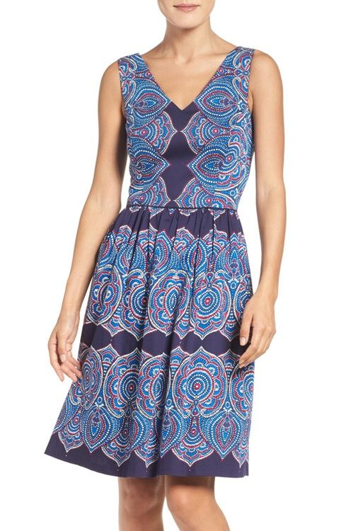Maggy London Print Fit Amp Flare Dress Fit Flare Dress