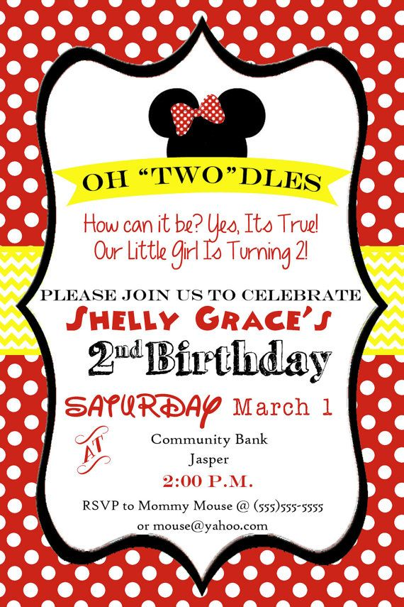 Oh Toodles! Minnie Mouse 2nd Birthday Party Invitation | Cami ...