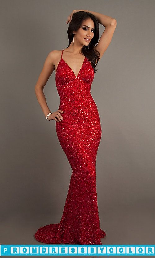 $193 Red Prom Dresses - Long V-Neck Sequin Dress with Open Back by ...