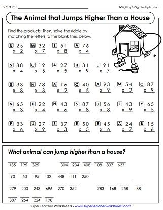 Multiplication Math Riddle Worksheet Math Riddles