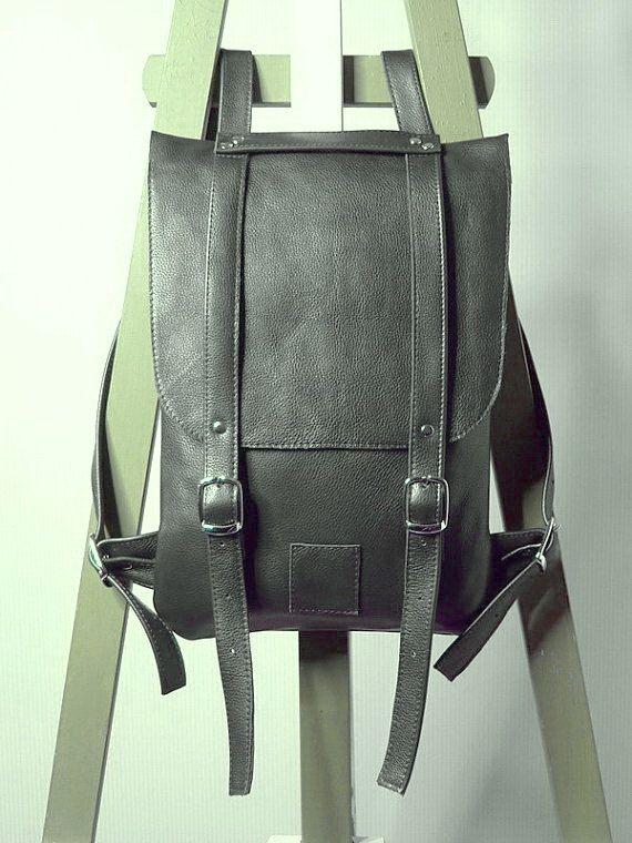 812dacf93b7 Dark gray leather backpack rucksack / In stock / Small backpack ...