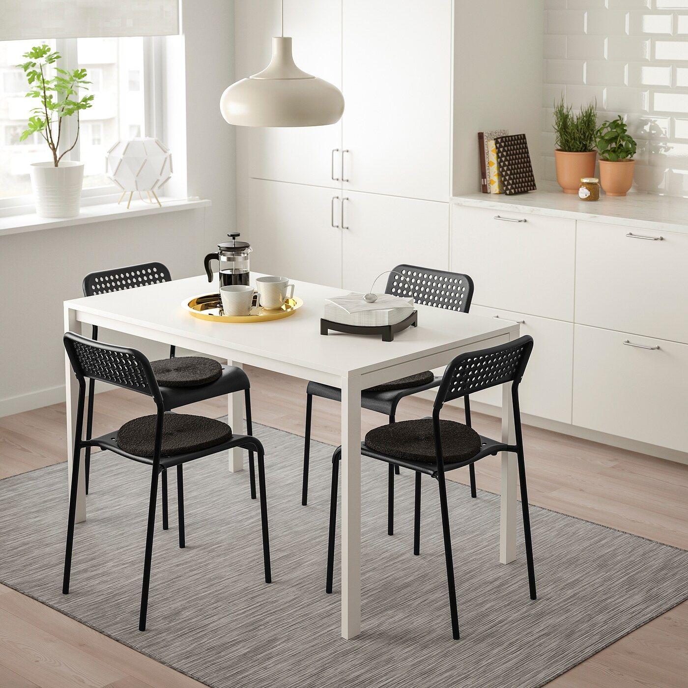 Melltorp Adde Tisch Und 4 Stuhle Weiss Schwarz Ikea