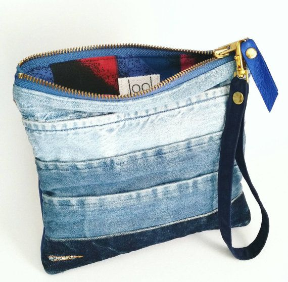 UPCYCLED Ombre Denim Clutch. Recycled Denim Cuffs. Jean Bag.