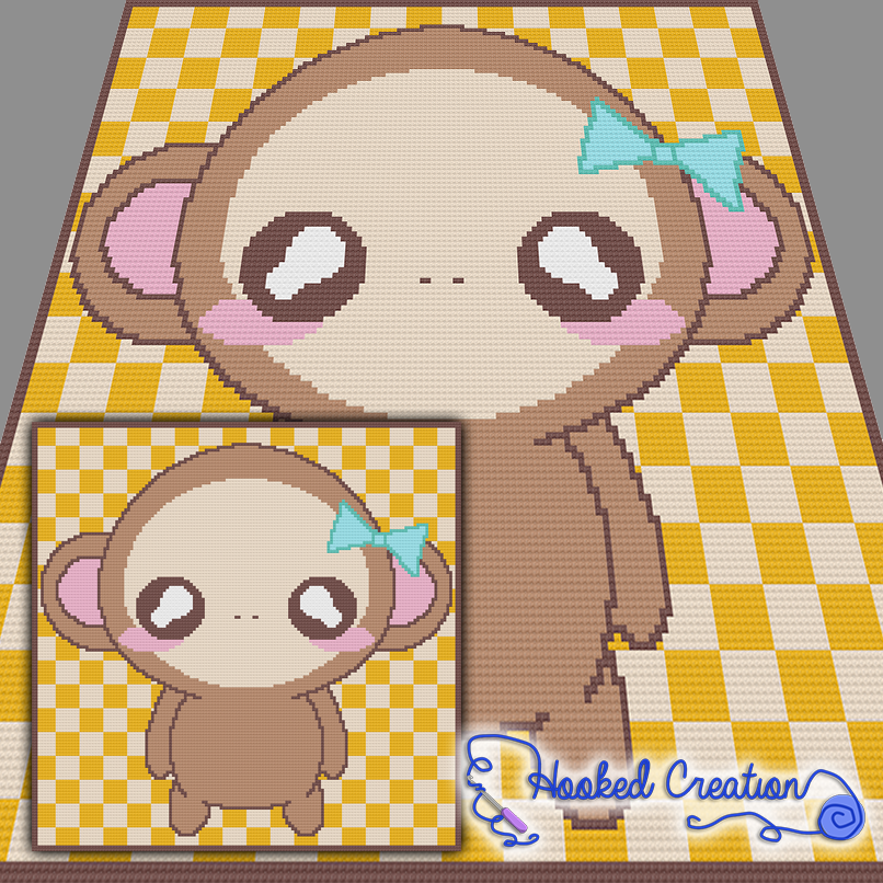Chibi Monkey SC Baby Blanket Crochet Pattern - PDF Download ...