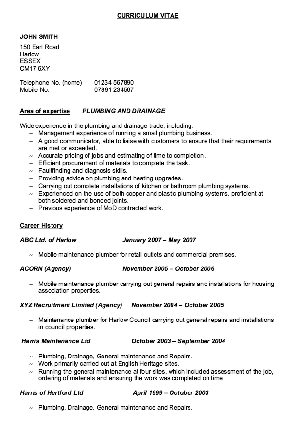 Example Of Resume Plumber  HttpResumesdesignComExampleOf