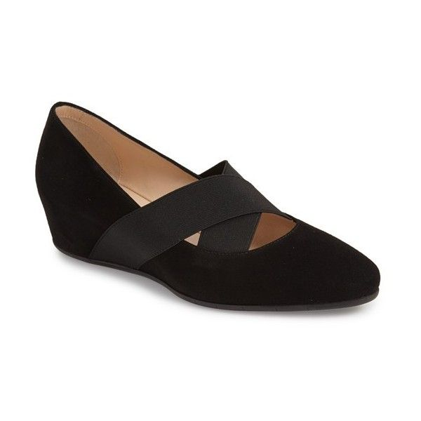 """Aquatalia 'Patty' Wedge, 1 1/4"""" heel (€310) ❤ liked on Polyvore featuring shoes, black suede, kohl shoes, black low heel shoes, black shoes, wedge heel shoes and wide leather shoes"""