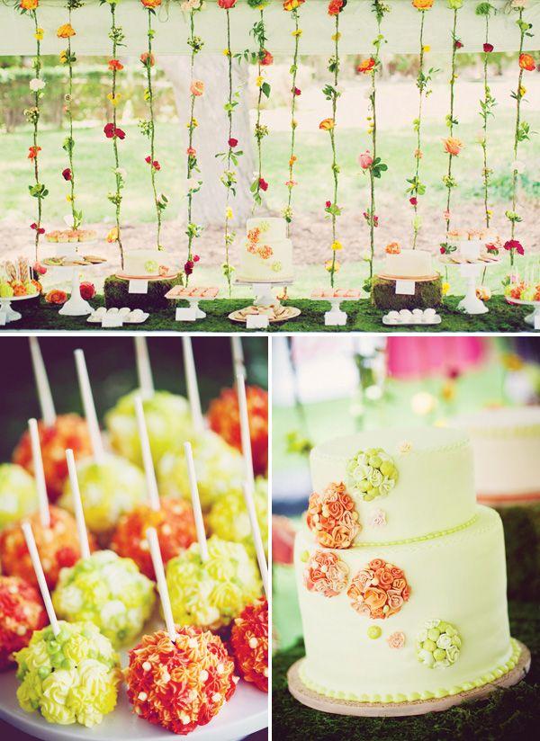 Elegant Secret Garden First Birthday Birthday dessert tables