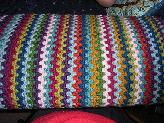 Crafty Biker Chick: Vintage Stripe Crochet Blanket