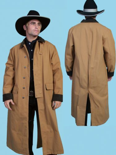 Men s Western Old West Cowboy Scully Long Duster Coat Black Brown Tan Cream   4d2a787237d5