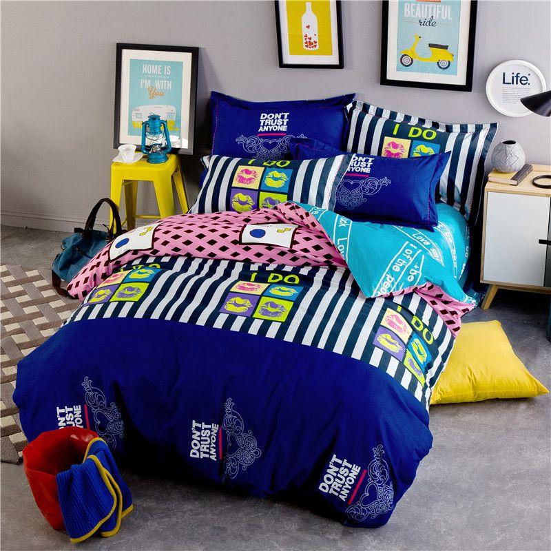 Ruffle linen sets 4pcs bedspreads kids twin size blue vs