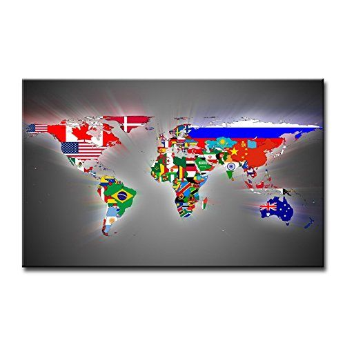 Amazon so crazy art wall art painting world map flags pictures amazon so crazy art wall art painting world map flags pictures prints gumiabroncs Image collections