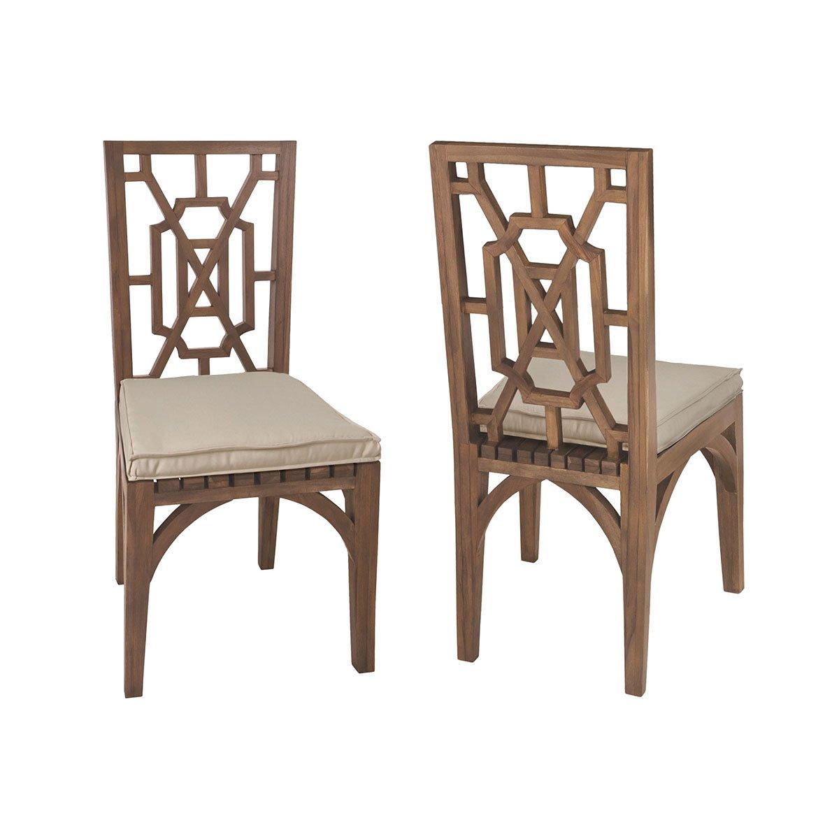 Teak Garden Dining Chair Cushion In Cream Teak Chairs Dining Chair Cushions Outdoor Dining Chair Cushions