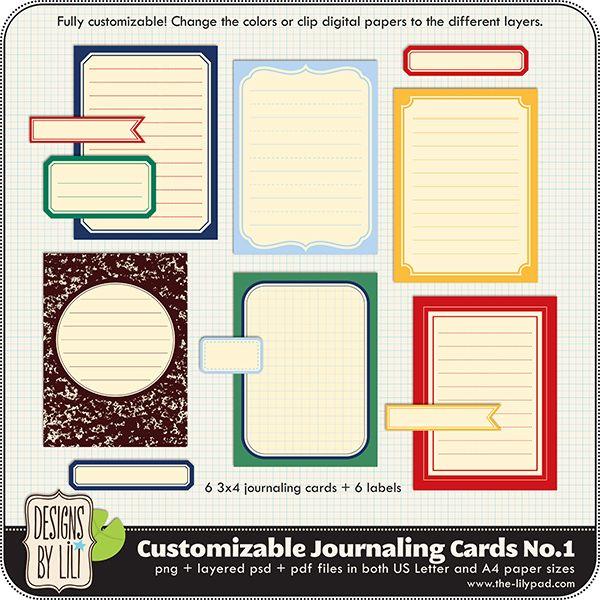 Customizable Journaling Cards No.1