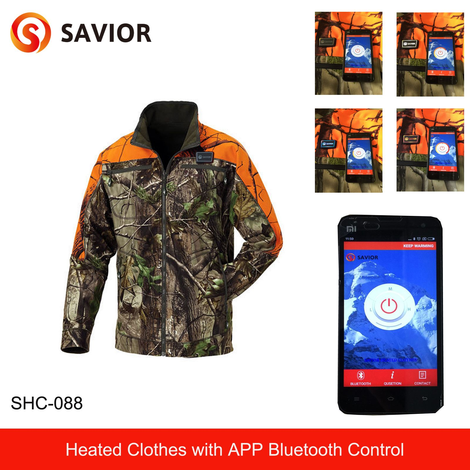 Heated Hunting Clothes >> Camouflage App Control Battery Heated Jacket For Hunting