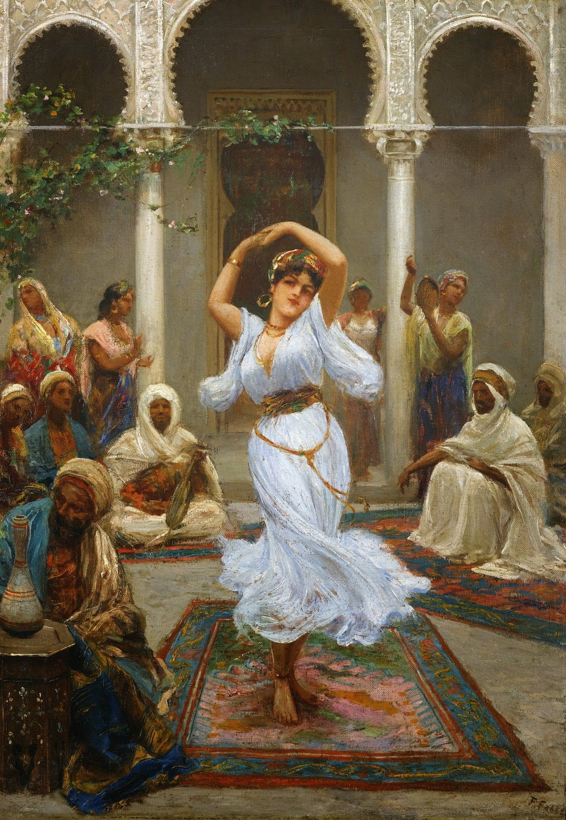 Fabio Fabbi ~ Orientalist painter is part of Art painting, Dance paintings, Classical art, Oriental art, Arabic art, Painting - Fabio Fabbi [18611906] one of the most famous and commercially successful Italian artists of the Orientalists  Fabio Fabbi was born in Bologna, Italy in 1861  As a young man, he enrolled at the Academia Di Belle Art in Florence and studied sculpture and painting in the 1880s, winning prizes in both categories  After his studies, he traveled to Paris, Munich, and finally Egypt  Upon his return to Italy, he dedicated himself solely to painting and was honored with the distinction of professorship at the Academia