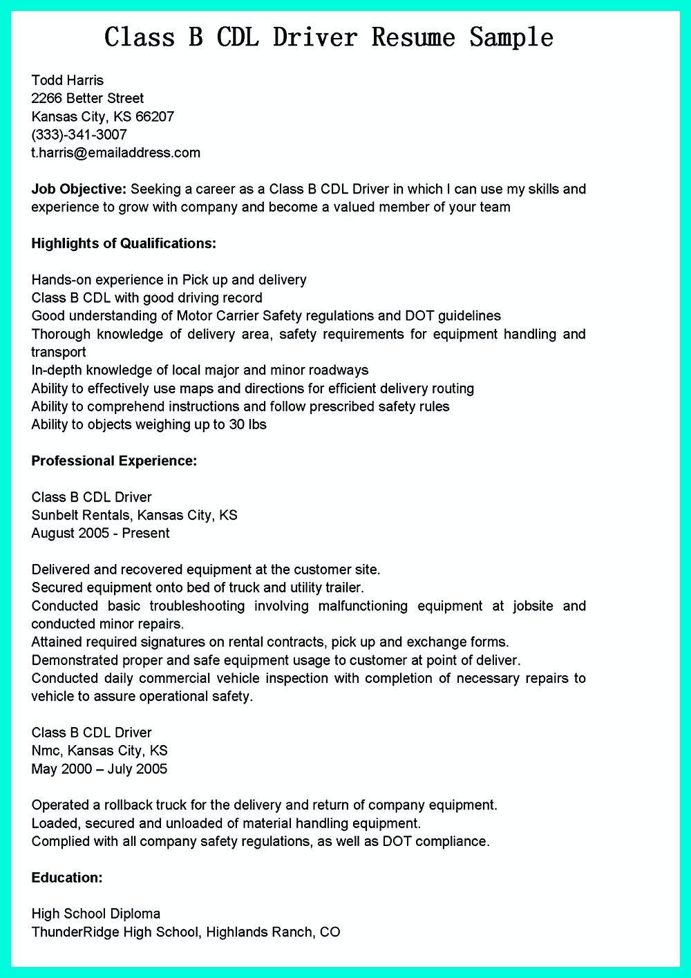 Driver Resume We Understand That You Really Want The Cdl Driver Job Soonbut